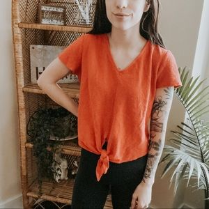 Madewell Tie Front V-Neck Tee